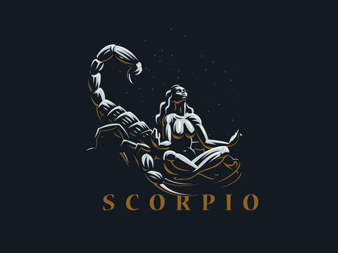 Sign of the zodiac Scorpio.  A woman meditates next to a scorpion.