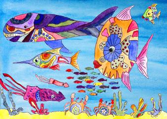 Fantastic beautiful fish under water watercolor