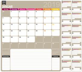 German calendar 2019 / German calendar template for year 2019, set of 12 months, week starts on Monday, printable calendar templates