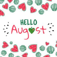 Wall Mural - hello august watermelon card