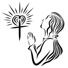 A shining cross with a heart and a young praying lady