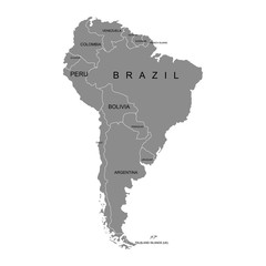 Territory of South America continent. White background. Vector illustration
