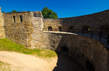 Stara Lubovna, Slovakia - AUG 28, 2016: courtyard of Stara Lubovna castle. popular tourist destination. Bright sunny day with deep blue sky