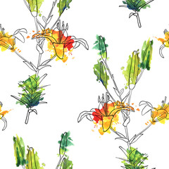 vector seamless pattern with lily flower
