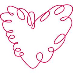 Herz aus einer roten Linie, Tattoo, Zeichnung, Symbol der Liebe