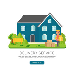 Logistics and delivery icon service isolated on white background: smiling couriers with packages, box, parcel, house, building.
