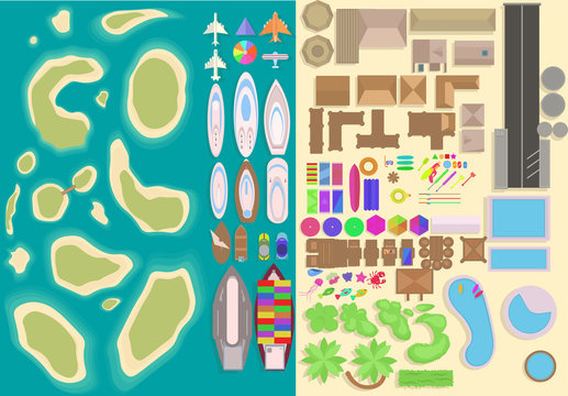 Island top view elements set. Cartoon vacation elements. Landscape top view. Vector illustration