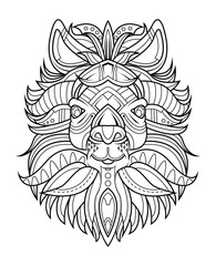 goat head coloring page vector illustration.