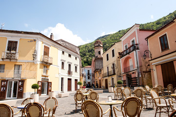Piazza im Dorf Maratea Borgo,  Potenza,  Basilicata,  Italien