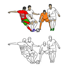 soccer player shooting a goal vector illustration sketch doodle hand drawn with black lines isolated on white background