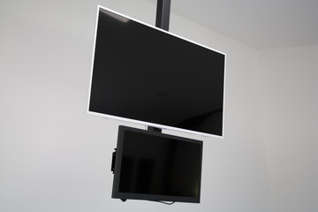 two black screen tv computer empty for your image