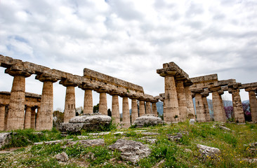 Hera-Tempel 8Basilika) Archäologische Stätte Paestum, UNESCO, Parco Nazionale di Cilento, Provinz Salerno, Region Campania, Kampanien, Italien