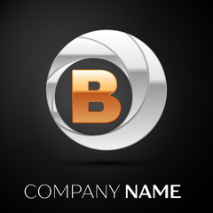 Letter B logo symbol in the golden-silver colorful circle on black background. Vector template for your design