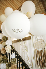 white balloons on a wedding