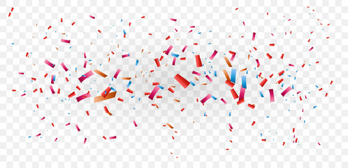 Colorful confetti explosion, isolated on transparent background