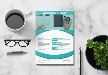 Business Flyer Layout with Teal Accents