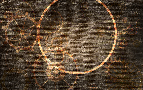 Steampunk vintage frame background,  cogs and gears on grunge canvas paper