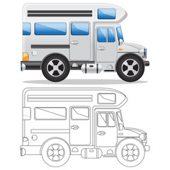 Camper Van. Side view. Isolated on white background. Vector illustration.