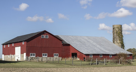 Barn and silo on a beautiful autumn day.