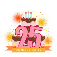 Illustrated image with a cake numbering twenty-five, fireworks and a starry rain