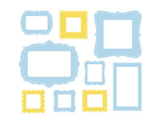 Set of cartoon picture frames organized as gallery wall. Blank frames isolated on white vector illustration. Balanced composition. Ready collage for photos or pictures
