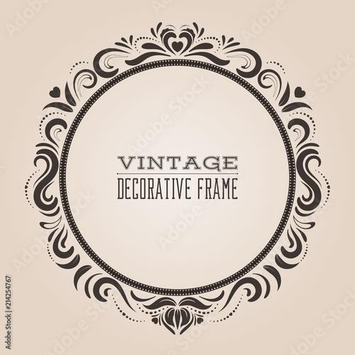 Round Vintage Ornate Border Frame Victorian And Royal Baroque Style Decorative Design Elegant
