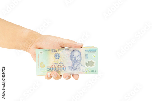 Clipping path Money in Vietnam on left hand (Socialist Republic Of  Vietnam), Dong