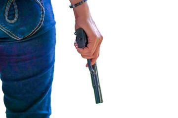 Gun on hand, gun concept or gun use on white background,cipping paths.