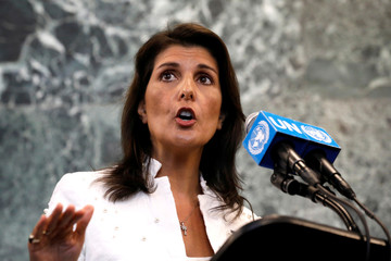 U.S. Ambassador to U.N. Nikki Haley speaks at press briefing at U.N. headquarters in New York