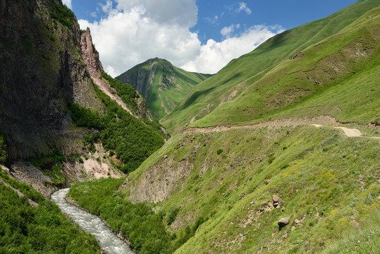 Caucasus mountains, Truso Gorge near the Kazbegi city