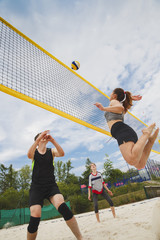Beach volleyball amateur players in action