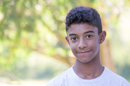 Mixed Race Teenage Boy Portrait with Copy Space
