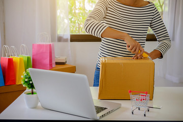 Online shopping concept. Young women receive parcels from online order.