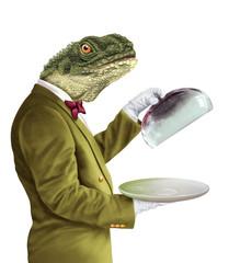homme tête de reptile- illustration- 3D- maître d'hôtel- chef