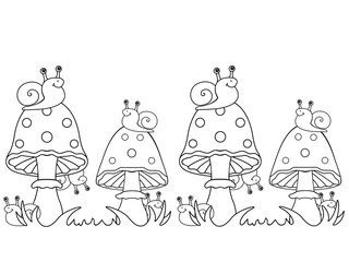 Snails and fly agarics. Snails sit on mushrooms and hide behind them. Linear pattern for coloring. Picture for children. Funny snails.