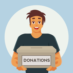 Guy holding a donation box. Donation concept. Vector stock.