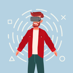 Cartoon guy using virtual reality glasses. Virtual gamer. Vector stock.