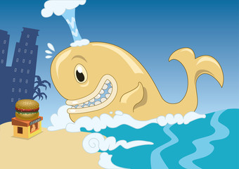 A funny and happy whale discovering a big burger kiosk in the beach. Vector illustration