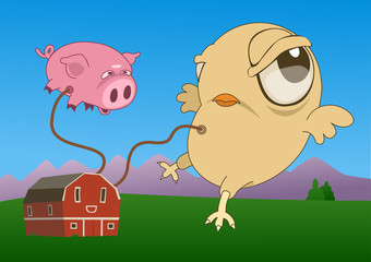 A farm showing two inflatable animals, a pig and a chicken. Vector illustration