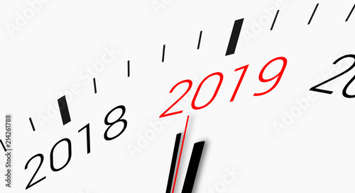 compte rebours de 2018 2019 clock countdown from year 2018 to 2019