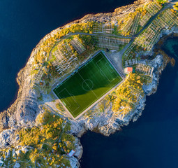 Wall Mural - Football field in Henningsvaer from above