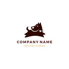 flat dog pose logo vector template