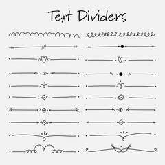 Set Of Text Dividers Calligraphic Elements For Decoration. Handmade Vector Illustration.