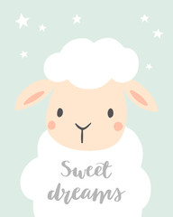 Sweet Dreams. Cute sheep with stars. Girl or boy baby shower. Design for baby, kids poster, nursery wall art, card, invitaton.