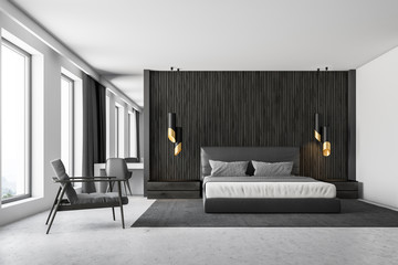 Black wood master bedroom interior