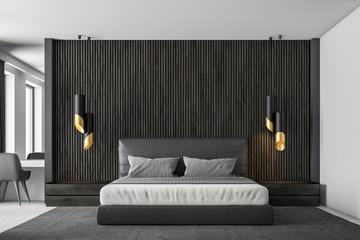 Black wood master bedroom interior close up