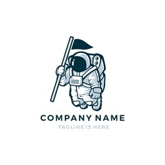 astronaut with flag vector mascot character logo icon template