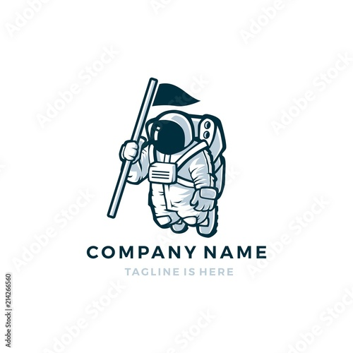 astronaut with flag vector mascot character logo icon template ...