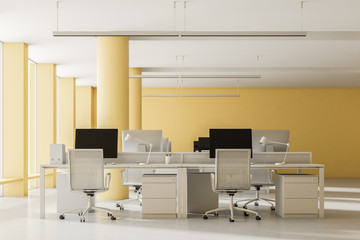 Spacious yellow wall open space office