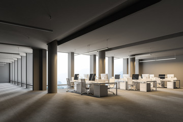 Corner of a spacious gray wall open space office